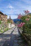 Flores en pueblo de montaña Imagen de archivo libre de regalías