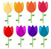 Flores en seis diversos colores libre illustration