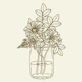 Flores en tarro de albañil stock de ilustración