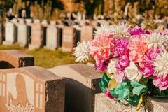 Flores en un cementerio Fotografía de archivo libre de regalías
