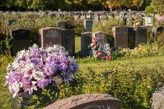 Flores en un cementerio Imagenes de archivo