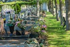 Flores en un cementerio con las piedras sepulcrales en fondo Fotografía de archivo