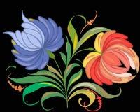 Flores en un negro ilustración del vector