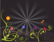 Flores en un resplandor solar ilustración del vector