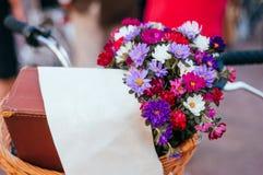 Flores en una cesta de la bicicleta imagen de archivo
