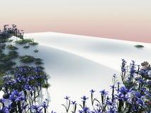 Flores en una duna de arena blanca de la playa stock de ilustración