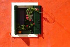 Flores en una ventana fotos de archivo