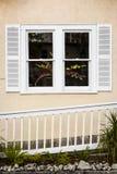 Flores en una ventana blanca Foto de archivo libre de regalías
