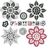 Flores engraçadas do doodle Fotos de Stock