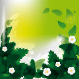 Flores entre las hojas verdes stock de ilustración