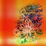Flores, esboço branco pintado em um fundo alaranjado Imagens de Stock