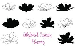 Flores, esboço e silhueta abstratos do cosmos ilustração stock
