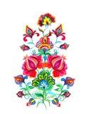 Flores eslavos da arte popular Motivo feericamente da aquarela - a mão da Europa Oriental crafted o ornamento floral fotos de stock