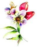 Flores estilizados Foto de Stock Royalty Free