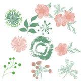 Flores estilizados que tiram a mão tirada Fotografia de Stock Royalty Free