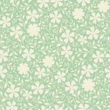 Flores exhaustas de la mano poner crema en diseño denso del duotone del vintage Modelo inconsútil del vector en fondo del verde m libre illustration