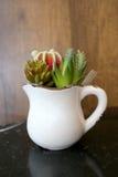 Flores falsas (árbol del cactus) para la decoración en la tabla en el café Foto de archivo libre de regalías