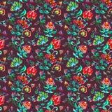 Flores feericamente decorativas no fundo escuro Repetindo o teste padrão Aquarela na arte popular da Europa Oriental Fotos de Stock Royalty Free