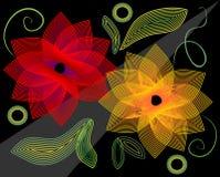 Flores finas del esquema en un fondo negro Imagen de archivo