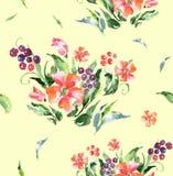 Flores florais da textura do ornamento da aquarela ilustração do vetor