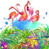 Flores, folhas e pássaro tropicais ilustração royalty free