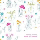Flores frescas en modelo de la esquina del marco de los floreros stock de ilustración