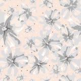 Flores grises adornadas de la suavidad del extracto en el fondo coralino ilustración del vector