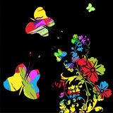 Flores hermosas con las mariposas Imagen de archivo