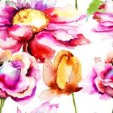 Flores hermosas de la primavera del modelo inconsútil Imagen de archivo libre de regalías