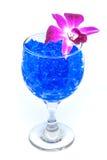 Flores hermosas en copa de vino con el hidrogel aislado en blanco Foto de archivo