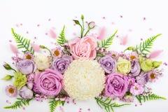 Flores hermosas en el fondo blanco foto de archivo