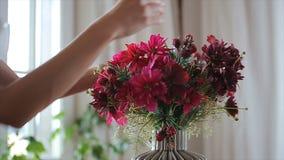 Flores hermosas en florero almacen de video