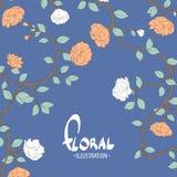 Flores hermosas en un fondo azul Foto de archivo libre de regalías