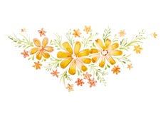 Flores hermosas pintadas con las acuarelas Fotografía de archivo libre de regalías