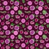 Flores hermosas y hojas rosadas y púrpuras del verde en un modelo de repetición ilustración del vector