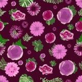 Flores hermosas y hojas rosadas y púrpuras del verde en un modelo de repetición stock de ilustración