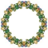 Flores, hojas y plantas al azar coloridas Imagen de archivo libre de regalías