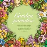 Flores, hojas y plantas al azar coloridas Fotografía de archivo
