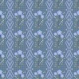 Flores inconsútiles con el modelo de flores azul en fondo azul claro Foto de archivo
