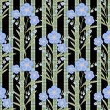 Flores inconsútiles con el modelo de flores azul en fondo negro Imagenes de archivo