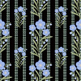 Flores inconsútiles con el modelo de flores azul en fondo negro Fotos de archivo libres de regalías