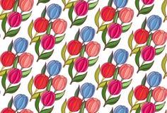 Flores inconsútiles de la primavera del fondo de tulipanes imagenes de archivo