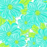 Flores inconsútiles del azul del modelo Imagen de archivo