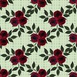 Flores inconsútiles del modelo color de rosa en motas verdes en el fondo Fotos de archivo