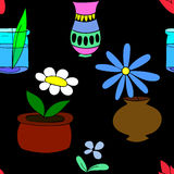 Flores inconsútiles del modelo de las plantas de tiesto en potes Imagen de archivo