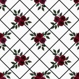 Flores inconsútiles del modelo de las rosas rojas en el fondo blanco Imagenes de archivo