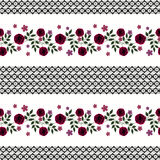 Flores inconsútiles del modelo de las rosas rojas en el fondo blanco Fotografía de archivo libre de regalías