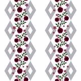 Flores inconsútiles del modelo de las rosas rojas en el fondo blanco Imagen de archivo libre de regalías