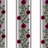 Flores inconsútiles del modelo de las rosas rojas en el fondo blanco Foto de archivo libre de regalías