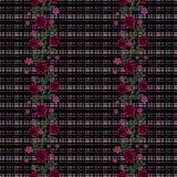 Flores inconsútiles del modelo de las rosas rojas en fondo negro Imagen de archivo libre de regalías